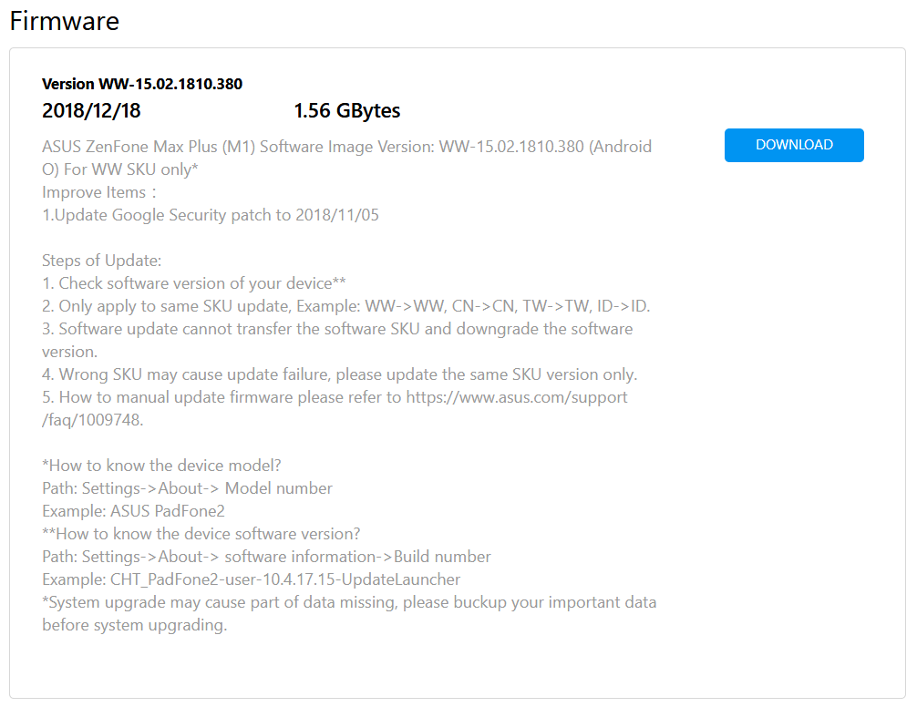 ASUS ZenFone Max Plus (M1) firmware update to 15 02 1810 380